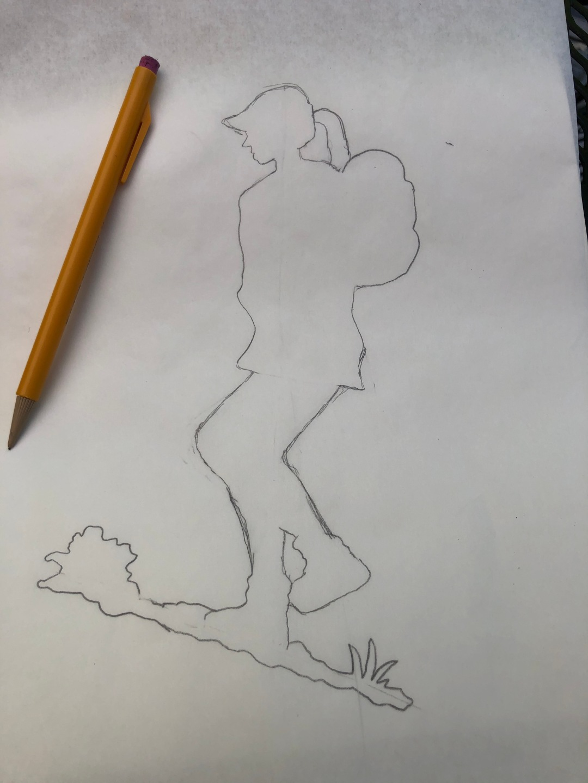 Hiking Girl Silhouette Pencil